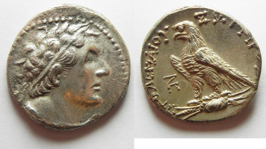 Ancient Coins -  Egypt. Ptolemaic kings. Ptolemy VI Philometor (first sole reign, 180-170 BC). AR tetradrachm (27mm, 13.89g) Uncertain Cypriote or Phoenician mint. Struck in era year 88 (175/4 BC)