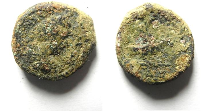 Ancient Coins - JUDAEA , AELIA CAPITOLINA AE 18 , ANTONINU PIUS AS FOUND , EAGLE REVERSE