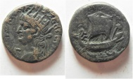 Ancient Coins -  Egypt. Alexandria under Nero (AD 54-68). Billon tetradrachm (24mm, 12.97g). Struck in regnal year 13 (AD 66/7).