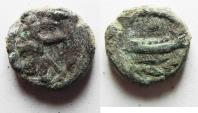 Ancient Coins - AS FOUND: GREEK. Phoenicia, Sidon.  'Abd'Ashtart I (372-358 BC). AE 15mm, 3.36g. Struck in regnal year 3 (370/69 BC).