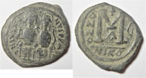 BYZANTINE. JUSTIN II & SOPHIA AE FOLLIS