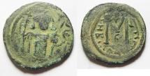 Ancient Coins - A rare variety: ISLAMIC. Ummayad caliphate. Time of Mu'awiya I ibn Abi Sufyan (AH 41-60 / AD 661-680). Arab-Byzantine series. AE fals (22mm, 4.62g). Tabariyya (Tiberias) mint.