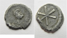 Ancient Coins - BYZANTINE. Anonymous Issues, time of Justinian I, c. 530. AR 1/3 siliqua or scripulum(?) (15mm, 1.02g). Constantinople mint.