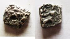 Ancient Coins - GREAT RESEARCH PIECE: GREEK. Alexander the Great (336-323 BC). AR drachm cut down into square shape (14mm, 2.85g). Mint unidentifiable.