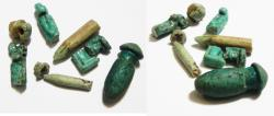 Ancient Coins - ANCIENT EGYPT. GROUP OF BROKEN FAIENCE AMULETS. ALL PARTS THERE. ONE RESTORED . 600 - 300 B.C