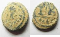 Ancient Coins - Justinian I, AE-12 Nummia. Alexandria. AS FOUND