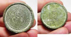 Ancient Coins - BYZANTINE BRONZE WEIGHT. 500 - 600 A.D  51.06GM = 2 UNCIA