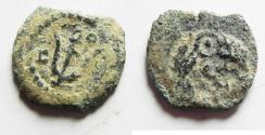 Ancient Coins - 	AS FOUND: Judaea, The Herodians. Herod Archelaus, 4 BC-6 AD. AE Prutah