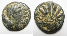 Ancient Coins - EGYPT. ALEXANDRIA UNDER AUGUSTUS (27 BC-AD 14). AE DIOBOL (24MM , 8.95G). CORN BUNDLE