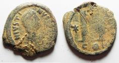 Ancient Coins - BYZANTINE EMPIRE. JUSTIN I BRONZE FOLLIS