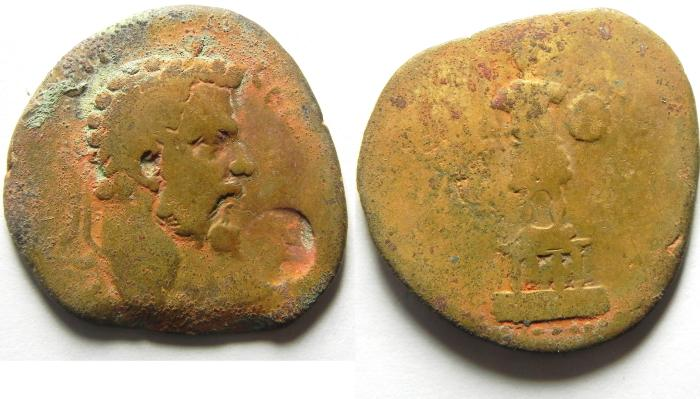 Ancient Coins - ARABIA , RABBATH MOBA , COUNTERMARKED COIN , SEPTIMIUS SEVERUS AE 25