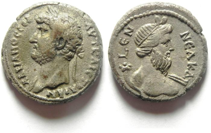 Ancient Coins - EGYPT , ALEXANDRIA , HADRIAN BILLON TETRADRACHM WITH NILUS , YEAR 19 , CHOICE EF CONDITION FOR THE TYPE!!!