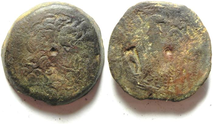 Ancient Coins - PTOLEMAIC KINGDOM , COUNTERMARKED AE 35 , 46.53 GM