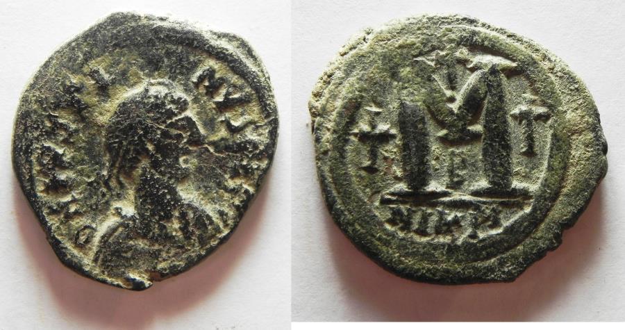 Ancient Coins - BYZANTINE . JUSTINIAN I AE FOLLIS. NICE!