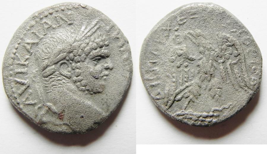 Ancient Coins - ROMAN PROVINCIAL.  Cyprus  under Caracalla (AD 198-217). Billon tetradrachm (24mm, 8.48g). Struck c. AD 215-217.