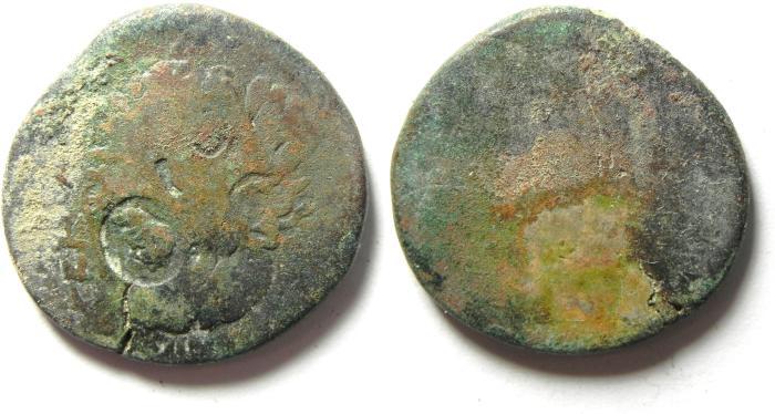 Ancient Coins - ARABIA , RABBATH MOBA , SEPTIMIUS SEVERUS , BARBARIC AE 27 , COUNTERMARKED