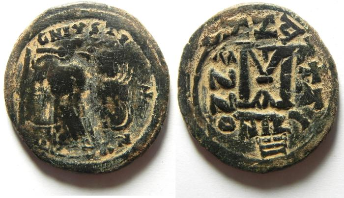 Ancient Coins - BYZANTINE , HERACLIUS AE FOLLIS , OVER STRUCK ON JUSTIN I FOLLIS , BEAUTIFULL COIN