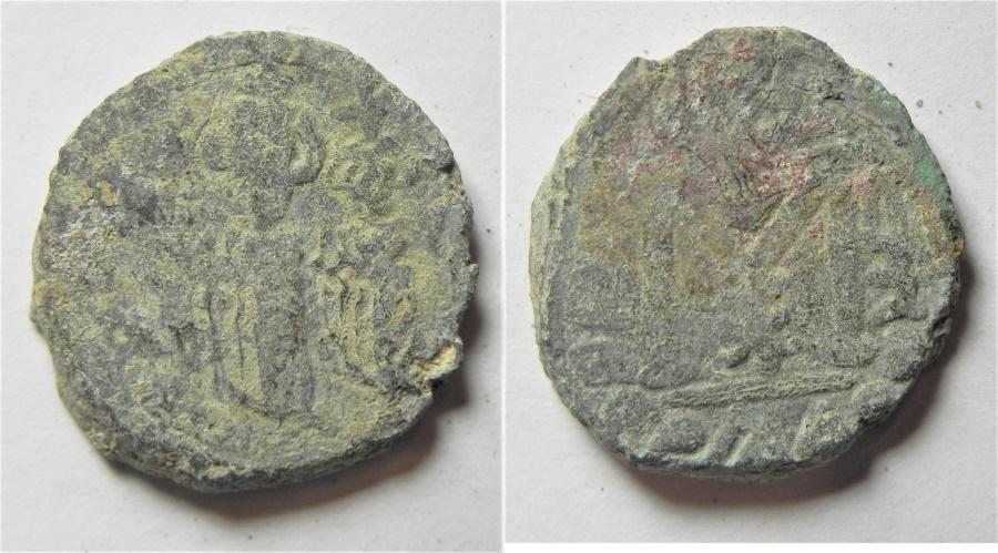 World Coins - ARAB-BYZANTINE AE FILS. TIBERIAS MINT.