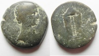 Ancient Coins - Egypt. Alexandria. Augustus (27 BC-AD 14). AE 80 Drachmae. Temple of Mars. Extremly rare!