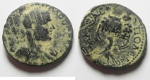 Ancient Coins - JUDAEA , SAMARIA , NEAPOLIS , Trebonianus Gallus, 251 - 253 AD. AE 24 mm. Gerizim Temple