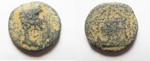 Ancient Coins - Judaea. Herodian dynasty. Herod Philip with Augustus. 4 BCE-34 CE. AE 20mm, 4.91gm. Caesarea Panias