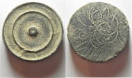 INTERESTING WEIGHT: BYZANTINE. AE 2 uncia (?) disk weight (40 x 7 mm, 84.38g). Incised Γ B (cross above)