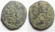 Ancient Coins - BYZANTINE. JUSTIN II & SOPHIA AE FOLLIS. CONSTANTINOPLE