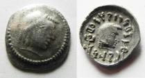 Ancient Coins - SOUTH ARABIA. Himyarite kingdom. Shamnar Yuhan'im (c. AD 125-130). AR unit (15mm, 1.67g). Raydan mint.