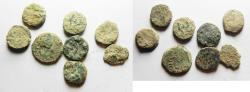 Ancient Coins - LOT OF 8 BRONZE JUDAEAN PRUTOT AS FOUND