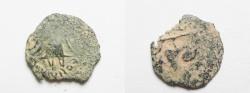 Ancient Coins - JUDAEAN , Herod Archelaus, RARE Barbaric Type. AE PRUTAH
