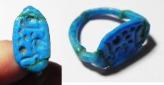 Ancient Coins -       18th DYNASTY ANCIENT FAIENCE RING WITH THE CARTOUCHE OF HOREMHEB, VERY NICE COLOR,  14TH CENT. B.C
