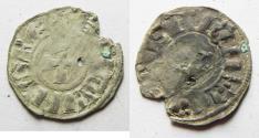 World Coins -  ROUGH STRIKE: DAVID'S TOWER: Crusaders, Latin Kingdom of Jerusalem. Baldwin III (1143-1163). BI Denier