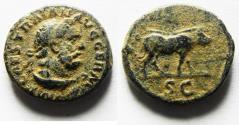 Ancient Coins - ORIGINAL DESERT PATINA. CHOICE COIN: TRAJAN AE QUADRANS / WILD BOAR