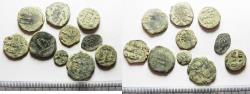 Ancient Coins - ISLAMIC. LOT OF 10 AE FILS COINS. AS FOUND. MOSTLY UMMAYYED