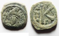 Ancient Coins - BYZANTINE. TIBERIUS II CONSTANTINE. AE HALF FOLLIS