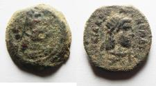 Ancient Coins - AS FOUND: PTOLEMAIC EMPIRE. CYRENE , PTOLEMY V AE 18 , WITH LIBYA ON REVERSE