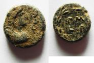 Ancient Coins - Decapolis. Philadelphia. Psuedo autonomous issue. AE 12mm, 2.69g. Struck in civic year 143 (AD 80/1).
