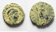 Ancient Coins - RARE CONSTANTINE II AE 4 . DESERT PATINA