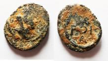 Ancient Coins - Apparently unpublished: ROMAN PROVINCIAL. Syria? Uncertain mint. AE 13mm, 1.00g. Veiled and turreted head of Tyche r. / Date POE (175) above A.
