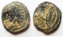 Ancient Coins - BYZANTINE. JUSTINIAN I AE FOLLIS. CONSTANTINOPLE