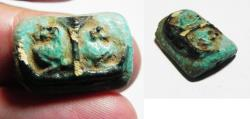 Ancient Coins - ANCIENT EGYPT, FAIENCE AMULET WITH BABOONS. 600 - 300 B. C