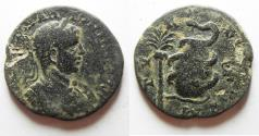 Ancient Coins - NICE QUALITY: PHOENICIA. TYRE. ELAGABALUS AE 27. Serpent and Baetyl stone