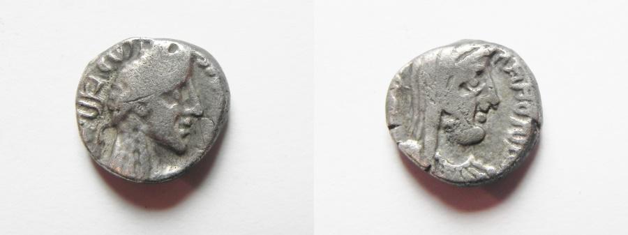Ancient Coins - Nabatean kingdom. Aretas IV with Huldu (9 BC-AD 40). AR drachm (14mm, 3.53g). Petra mint