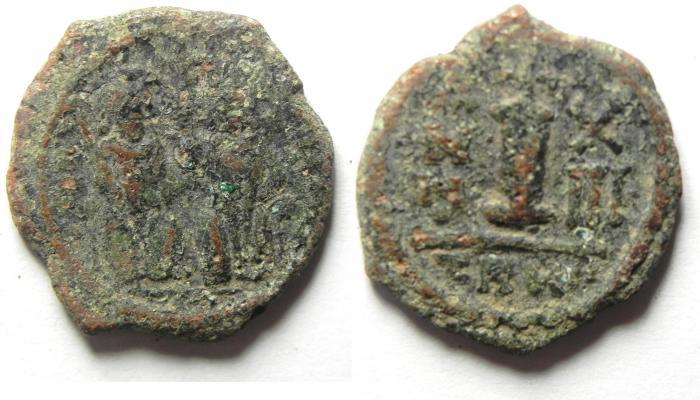 Ancient Coins - BYZANTINE , JUSTIN II & SOFIA AE DECANUMMIUM