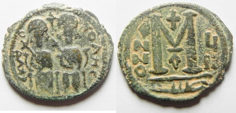 "Ancient Coins - WITH ""TAYYEB"" ON REV. : ISLAMIC. Ummayad caliphate. Arab-Byzantine series. AE fals (27mm, 9.26g). Baysan (Scythopolis) mint. Struck c. AD 650-700."