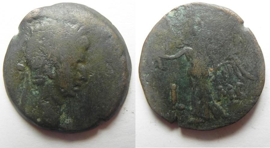 Ancient Coins - Egypt. Alexandria under Augustus (27 BC-AD 14). AE diobol (23mm , 7.67g). Struck in regnal year 42 (AD 11/12).