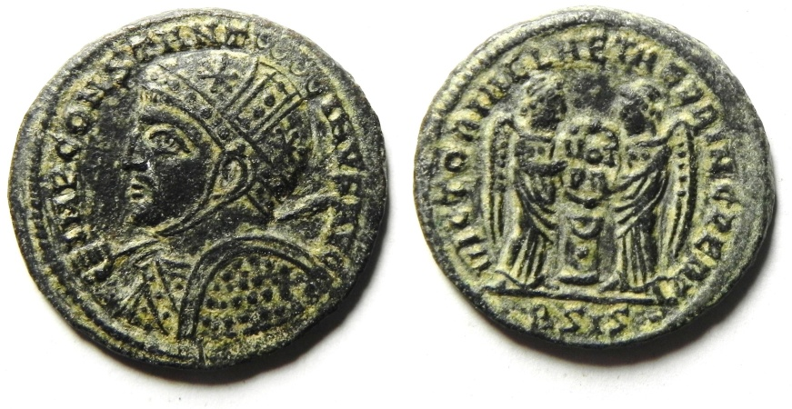 Ancient Coins - beautifull and rare constantine I the Great AE 3 , Siscia mint