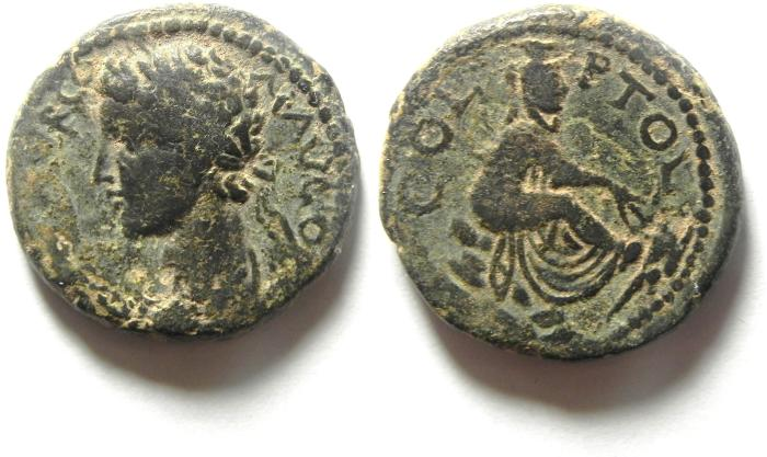 Ancient Coins - PHOENICIA, Akko Ptolemais (AKKO , ISRAEL).  Commodus, AD 177-192, Æ 24mm , VERY RARE, BEAUTIFULL QUALITY!!!