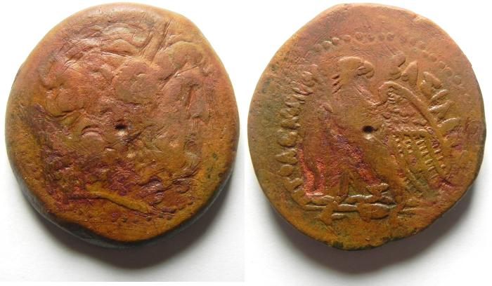 Ancient Coins - PTOLEMAIC KINGDOM , AFFORDABLE AE 38 , COUNTERMARKED , 45.15 GM