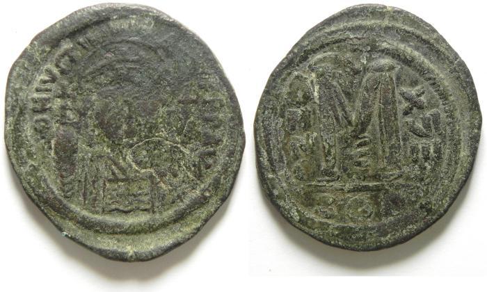 Ancient Coins - JUSTIN I AE FOLLIS , BYZANTINE